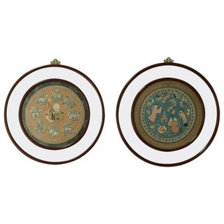 19th C. Framed Chinese Silk Embroideries - A Pair