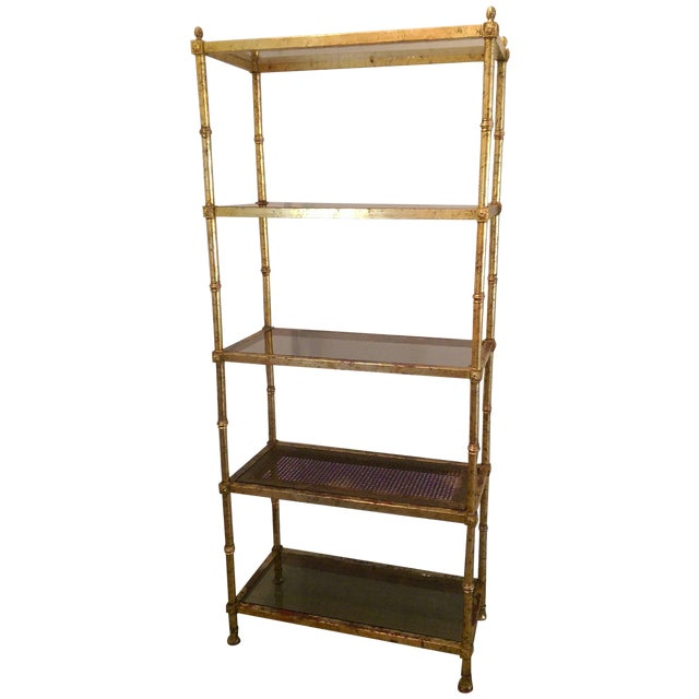 maison jansen hollywood regency metal glass etagere. Black Bedroom Furniture Sets. Home Design Ideas
