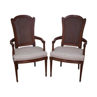 Henredon Walnut Cane Back Arm Chairs - A Pair