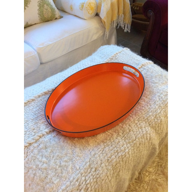 Orange Lacquer Oval Hermès Inspired Serving Tray - Image 11 of 11
