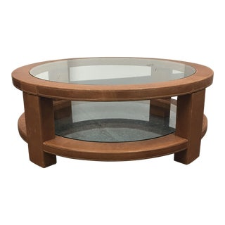 Custom Leather & Glass Coffee Table