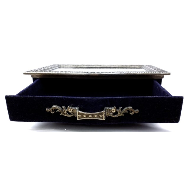 Vintage Silver Carved Deep Navy Jewelry Box - Image 5 of 7