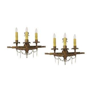 Bradley & Hubbard Bronze and Crystal Wall Sconces - A Pair