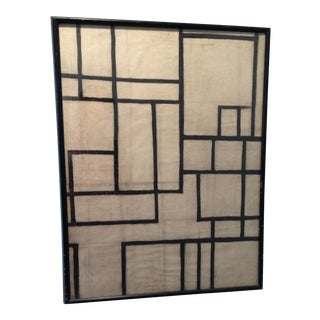 Mid-Century Charcoal on Paper Geometric Abstract Drawing