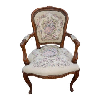 French Provincial Tapestry Ornate Carved Arm Chair