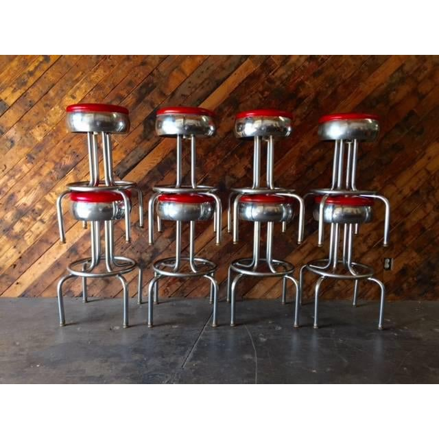 Mid-Century Chrome Diner Bar Stools- Set of 8 - Image 7 of 8