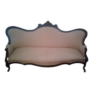 1920's Victorian Mahogany Carved Sofa