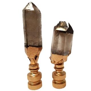 Smoke Quartz Crystal Points & Gold Gilt Lamp Finials - A Pair