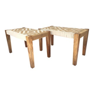 Mid-Century Boho Rope Woven Benches - A Pair