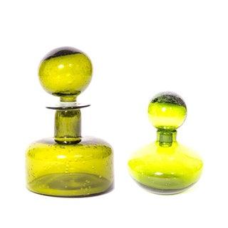 Green Glass Vessels - A Pair