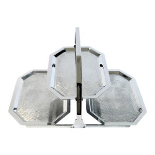 Stainless Folding 3 Tray Serving Set