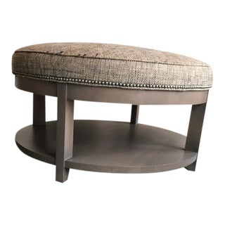 Upholstered Grey Round Ottoman