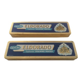 Vintage Mid-Century El Dorado Pencil Tin Boxes - Pair