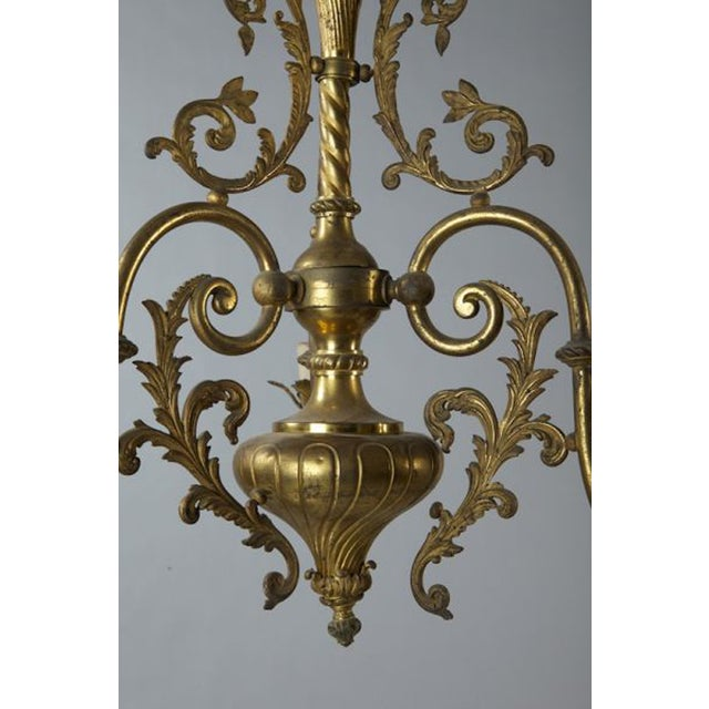 French Three Light Solid Cast Brass Chandelier - Image 8 of 8
