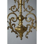 Image of French Three Light Solid Cast Brass Chandelier