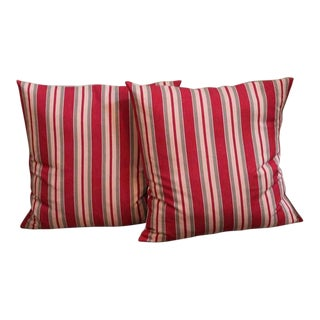 19th Century Fantastic Pair of Red and Tan Ticking Pillows