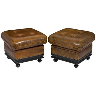 1940s Vintage French Leather Ottomans - Pair