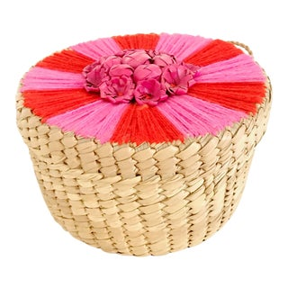 Mexican Boho Wicker With Red & Pink Yarn Box / Basket
