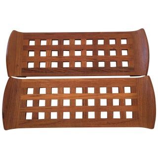 Patterned Dansk Teak Tray - Pair