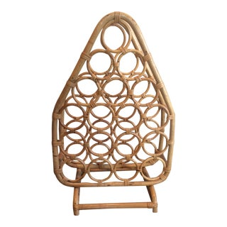 Large Vintage Wicker Wine Rack