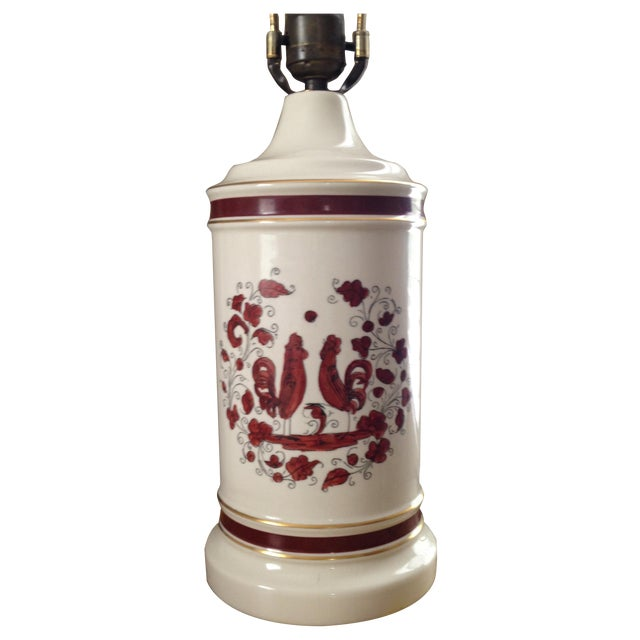 White & Red Ceramic Rooster Table Lamp - Image 1 of 5