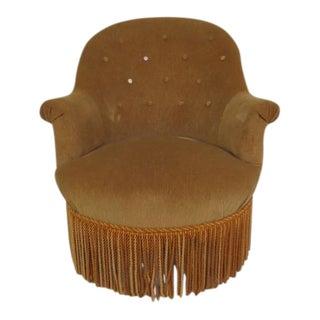 Vintage Velour & Beech Wood Slipper Chair