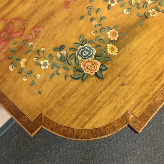 Hand-Painted Floral Console Table - Image 9 of 11