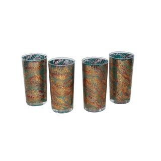 Gilt Florentine Pattern Tumblers - Set of 4
