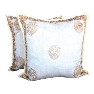 Elegant Handwoven Ivory Silk Pillows - A Pair