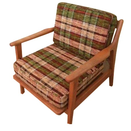 Conant Ball Mid-Century Plaid Lounge Chair - Image 1 of 4