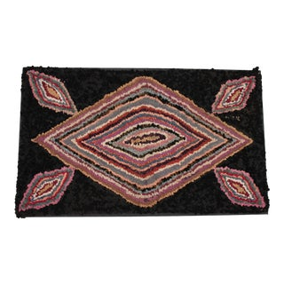1930's Geometric with Wool Mounted/Hooked Rug