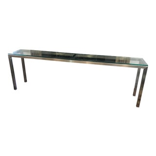 Room and Board Steel Glass Top Portico Console Tale