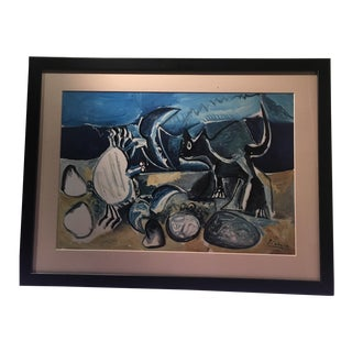 Picasso Cat and Crab Framed Lithograph