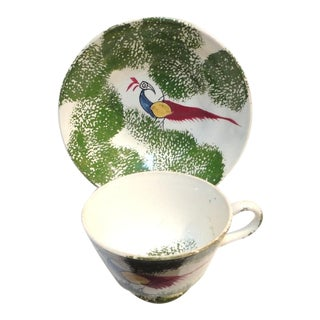 Early & Rare 19thc Peafowl /Stick Spatter Childs Cup & Saucer
