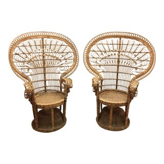 Vintage Wicker Peacock Chairs- A Pair