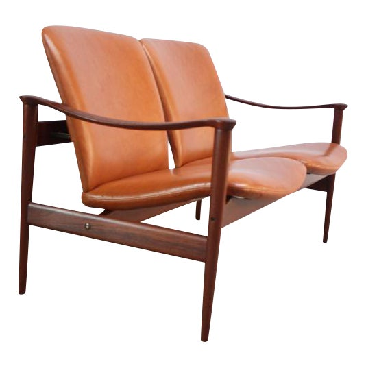 Fredrik Kayser Loveseat in Leather and Teak - Image 1 of 11