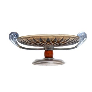 French Art Deco Chrome & Glass Tazza