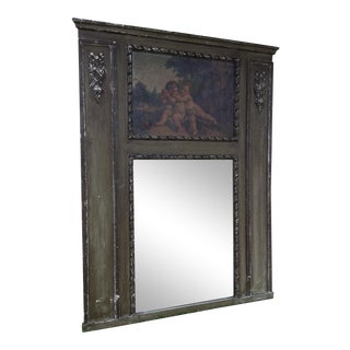 Antique French Handpainted Trumeau Mirror