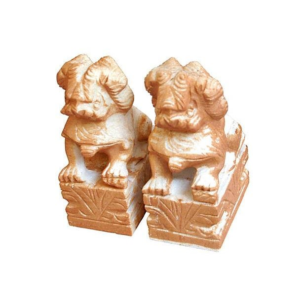 Carved Solid Marble Foo Dog Bookends - Pair - Image 6 of 7
