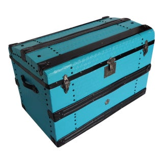 Metal Covered Turquoise Antique Curve Top Trunk