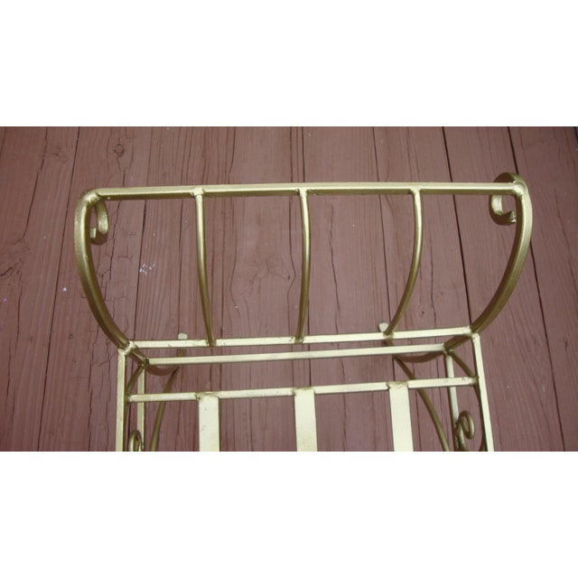 Metal French Art Deco Scroll Bench in Gold Tone - Image 9 of 11