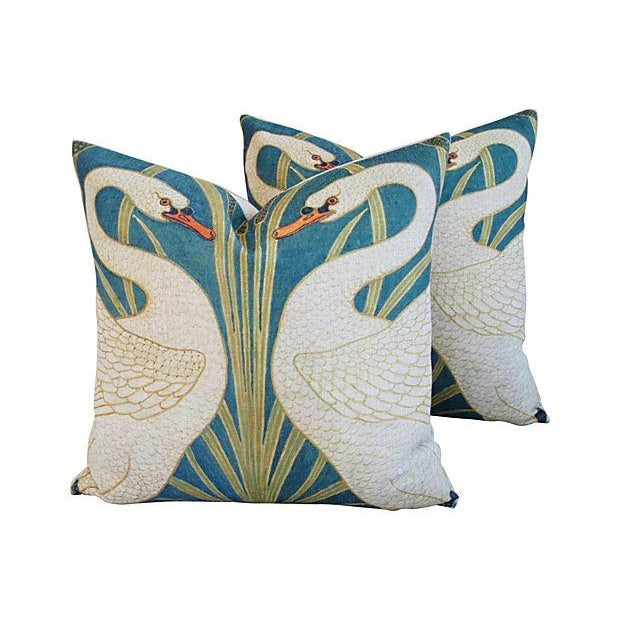 Image of Swans Linen & Down/Feather Pillows - Pair