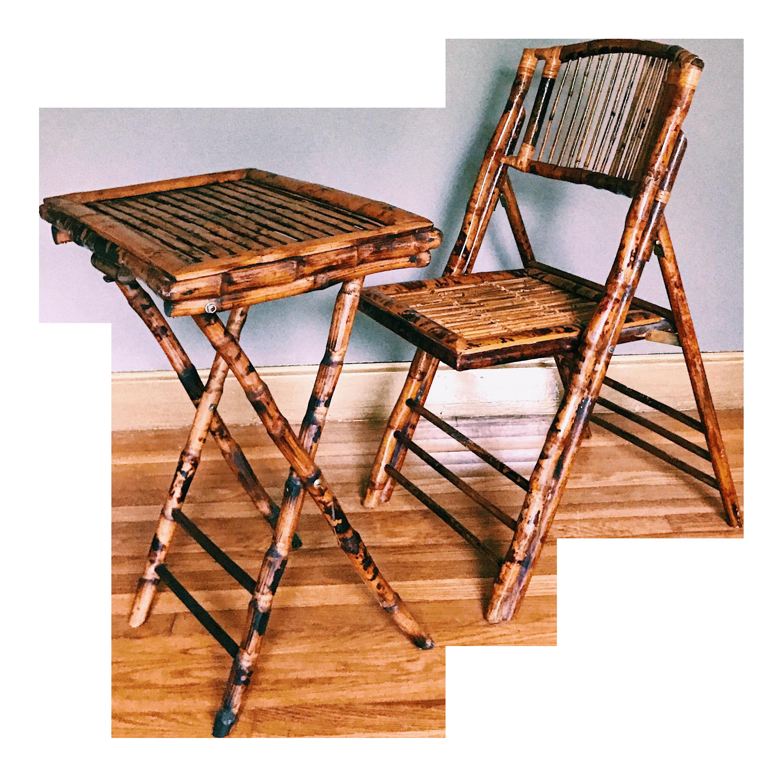Vintage Burnt Tortoise Bamboo Folding Chair U0026 Tray   Image 1 ...