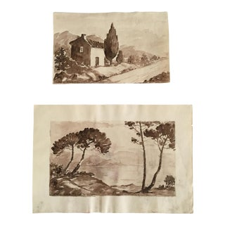 Vintage Small French Sepia Watercolors, Signed L. Chabaud - A Pair