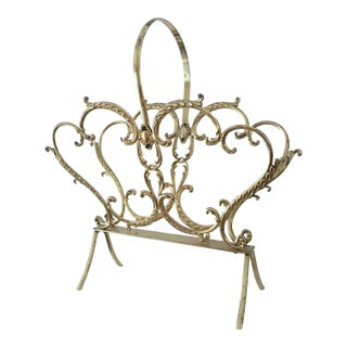Vintage Ornate Brass Magazine Rack