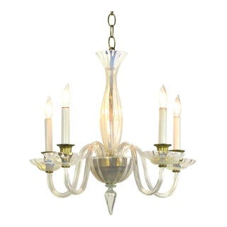 Murano Opaline Glass Five Arm Empire Style Chandelier