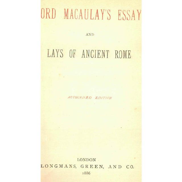 Image of 'Lord Macaulay's Essays & Lays' Book