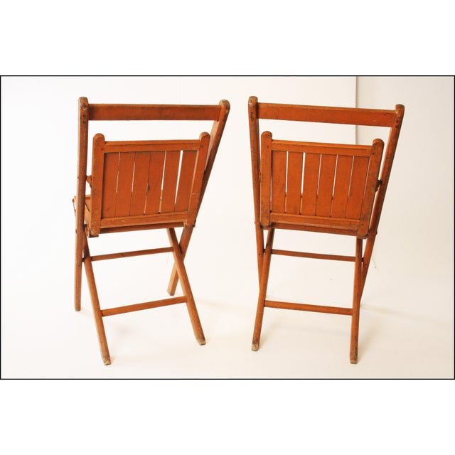 wood slatted folding chairs a pair chairish
