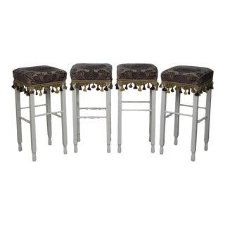 White Bar Stools w/ Upholstered Seats - Set of 4