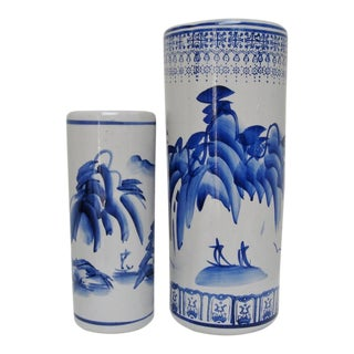 Chinese Porcelain Cylinder Vases - A Pair